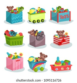 Flat vector set of containers full of children toys. Teddy bears and dinosaurs, rubber balls and ducks, colorful pyramids