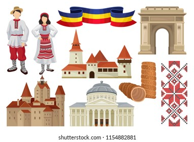 Flat vector set of cultural symbols of Romania. Food, historic architecture, ribbon in color of Romanian tricolor, traditional embroidery and costumes