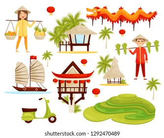 Flat vector set of cultural symbols of Vietnam. Dragon, rice terraces, architecture, transport and people