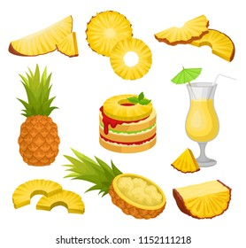 Flat vector set of cut and whole pineapples, alcohol drink and dessert. Juicy tropical fruit. Natural and healthy food