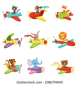 Flat vector set with cute animals flying in colorful airplanes. Cartoon characters of domestic and wild creatures. Design for children's t-shirt print, book or postcard
