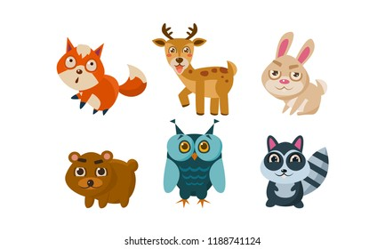 Flat vector set of cute animals. Deer, red fox, bunny, bear, owl and raccoon. Cartoon characters of forest creatures