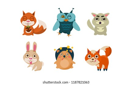 Flat vector set of cute cartoon animals. Funny forest creatures squirrel, owl, hare, hedgehog, fox and wolf . Wildlife theme