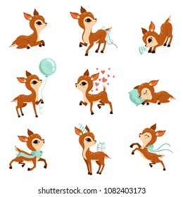Flat vector set of cute fawn in different actions. Cartoon character of little deer. Adorable forest animal. Graphic design for postcard or print