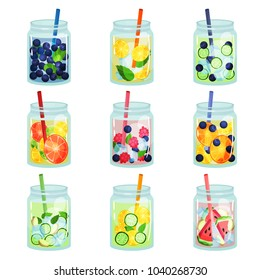 Flat vector set of delicious detox drinks with various ingredients. Refreshing fruit water. Natural and healthy beverages. Organic cocktails in glass jars with straws