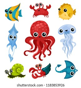 Flat vector set of different ocean animals. Marine creatures with shiny eyes. Fish, octopus, sea snail, jellyfish, squid, crab