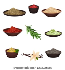 Flat vector set of different seasonings. Organic fragrant ingredients for flavoring dishes. Cooking theme