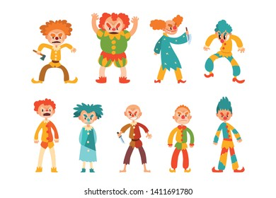 Flat vector set of evil clowns. Scary men in colorful costumes and weapon in hands. Cartoon characters with makeup on faces and crazy hair