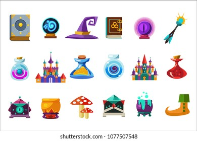 Flat vector set of fabulous items for mobile game. Book, magic ball, wizard hat, bottles with elixirs, castle, cauldrons, mushrooms. Gaming resources