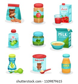 Flat vector set of food and drinks for babies. Natural yogurts and juices, fruit and vegetable puree, cookies and porridge