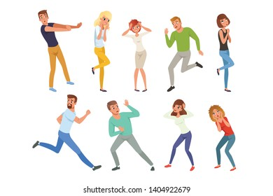 Flat vector set of frightened people in different positions. Young guys and girls afraid of something. Cartoon characters of emotional men and women
