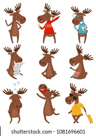 Flat vector set of funny brown moose elk in various actions. Wild forest animal with large branched horns
