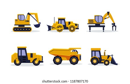 Flat vector set of heavy machinery for building. Construction equipment. Yellow excavator, tractor, dump truck, backhoe loader