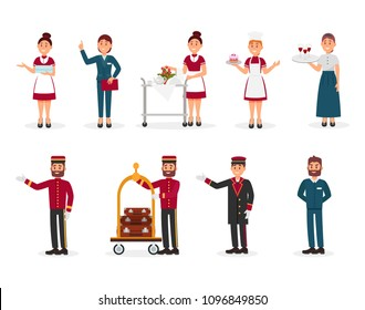 Flat vector set of hotel staff. Maid with clean towels, manager, bellboy with luggage trolley, doorman, chef of restaurant