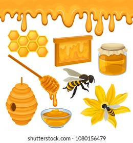 Flat vector set of icons related to honey production theme. Bee on flower, honeycomb, hive, glass bowl and jar, wooden dipper. Natural product