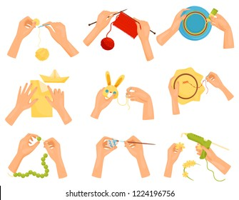 Flat vector set of icons showing different hobbies. Hands doing handmade crafts. Knitting, decorating, painting, sewing