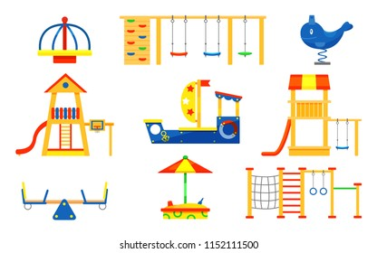 Flat vector set of kids playground elements. Carousels, slides, ladders, wooden sandbox. Play equipment for active children s recreation