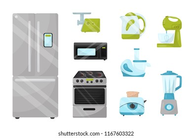 Flat vector set of kitchen electronic appliances. Household items. Elements for advertising poster of home goods store