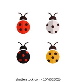 Flat vector set of ladybug. Colored beetle design template.