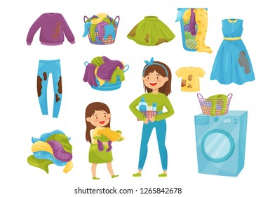 Flat vector set of laundry icons. Baskets with dirty clothes. Washing machine. Cartoon girls doing household chores