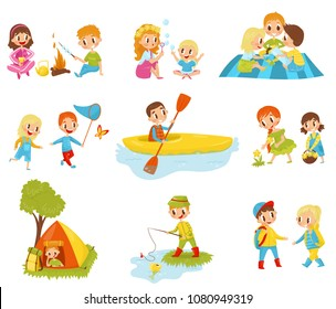 Flat vector set of little kids doing different activities. Fishing, cooking marshmallow on fire, picking flowers, kayaking, catching butterfly