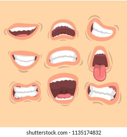 Flat vector set of male mouths with different emotions. Smile, sticking out tongue, anger, happiness. Design for mobile app, sticker or print