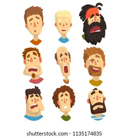 Flat vector set of male portraits with surprised and shocked facial expressions. Young guys and adult men. Cartoon people characters