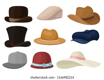 Flat vector set of man and woman hats. Stylish male and female headwear. Baseball cap and elegant panama. Fashion theme
