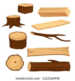 Flat vector set of materials for wood industry. Old tree stumps and branch, long beam and planks, wooden log. Natural forest elements