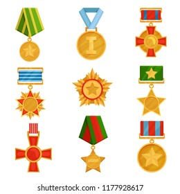 Flat vector set of military medals with colorful ribbons. Shiny golden orders. Symbols of victory. Veterans day theme