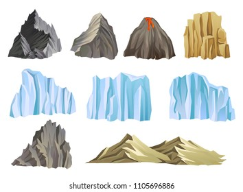 Flat vector set with mountains, volcano and icebergs. Climbing or outdoor adventure theme. Elements for landscape of mobile game
