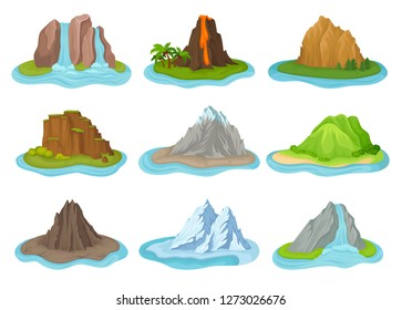 Flat vector set of mountains and waterfalls. Small islands surrounded by water. Natural landscape