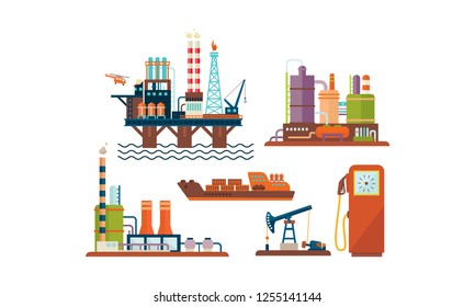 Flat vector set of oil and gas production industry icons. Oil platform, ship, factory buildings and fuel dispenser