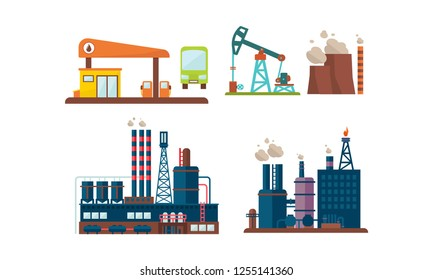 Flat vector set of oil industry icons. Gas station, factory buildings, drilling rig. Extraction and transportation theme