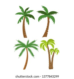 Flat vector set of palm trees