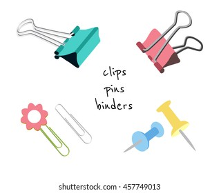 Flat vector set of paper clips, binders and pins isolated on white background