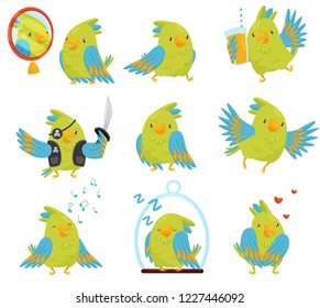 Flat vector set of parrot in different situations. Cute bird with bright green and blue feathers. Funny cartoon character