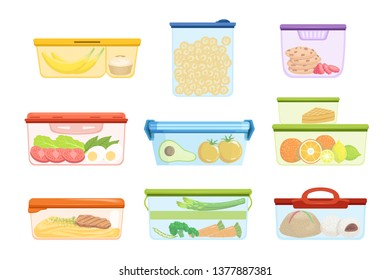 Flat vector set of plastic containers with food vegetables, fruits, sweets, macaroni. Dessert for lunch. Mashed potatoes with pork chop