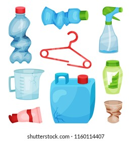 Flat vector set of plastic waste. Crumpled bottles and cup, broken hanger, cracked canister and measuring jug. Sorting and recycling theme