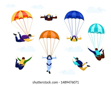 Flat vector set of professional skydivers. flying with parachutes set, extreme parachuting sport and skydiving concept vector Illustrations on a white background