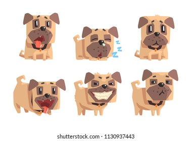 Flat vector set of pug with different emotions. Funny cartoon character. Domestic dog. Emoji for social network, t-shirt print or postcard