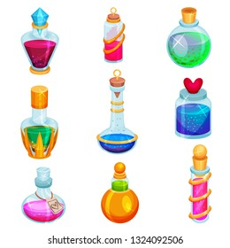 Flat vector set of small bottles with potions. Different glass vials with magic elixirs. Toxic liquids