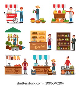 Flat vector set of street vendor selling various products. Seller near cart. Local farmers market. Fresh food on counters