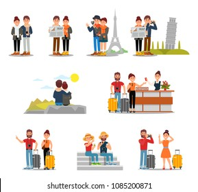 Flat vector set of tourists with suitcases, maps and cameras. People traveling Europe. Young couple at hotel reception. Man and woman on vacation