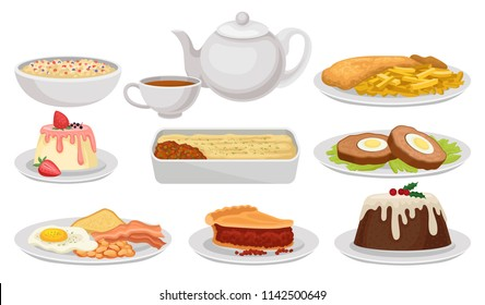 Flat vector set of traditional English food. Tasty dishes, desserts and tea. British cuisine. Elements for recipe book, cafe or restaurant menu