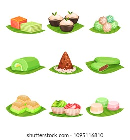 Flat vector set of traditional Indonesian sweets. Delicious desserts. Oriental food. Design for menu, poster or recipe book