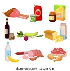 Flat vector set of various groceries. Fresh meat sausages and chicken , natural vegetables, dairy products. Healthy breakfast