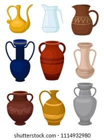 Flat vector set of various jugs. Glass pitcher for water. Antique ceramic vases. Large vessels for liquids. Decorative home elements