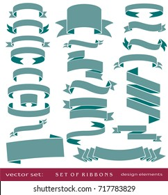 Flat vector set of vintage ribbons, retro banners, isolated elements on white background for design