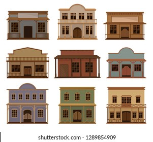 Flat vector set of western houses. Old wild west saloons. Wooden buildings with swinging doors and porches